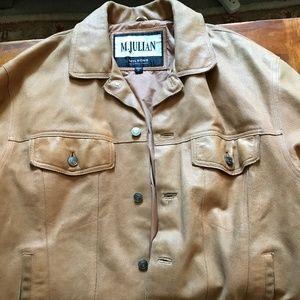 Men's Light Brown Distressed Leather Coat